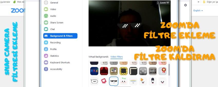 Zoom'da filtre ekleme, filtre kaldırma, snap camera filtresi