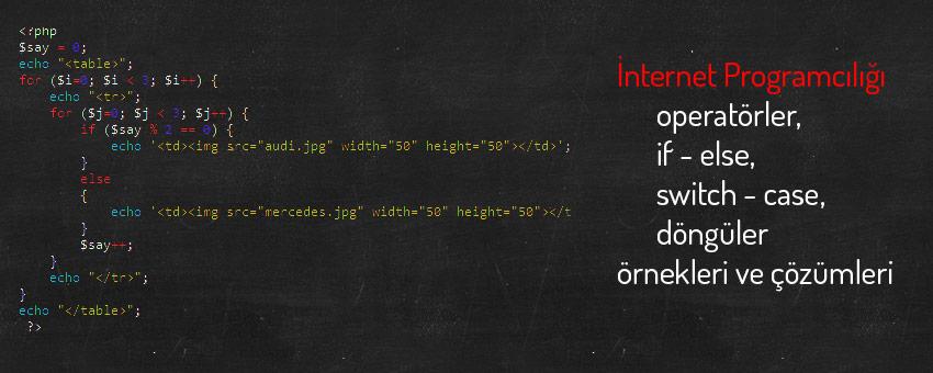 İnternet programcılığı operatörler, if - else, switch - case, döngüler ile ilgili çözümlü örnekler