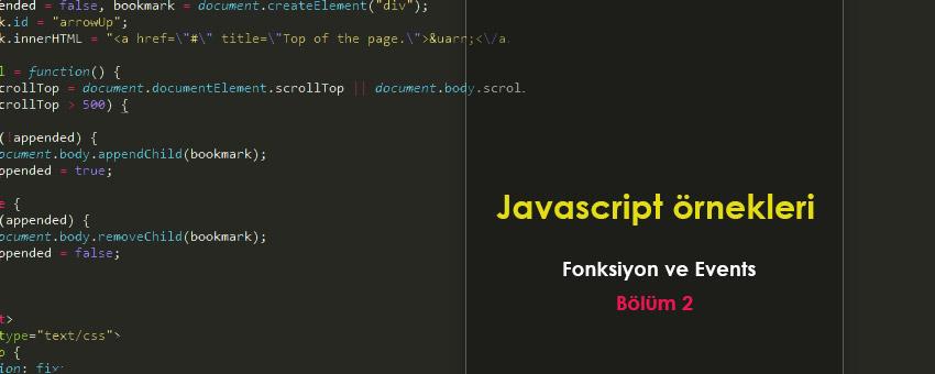 Javascript fonksiyonlar ve events ile ilgili çözümlü sorular - Bölüm 2