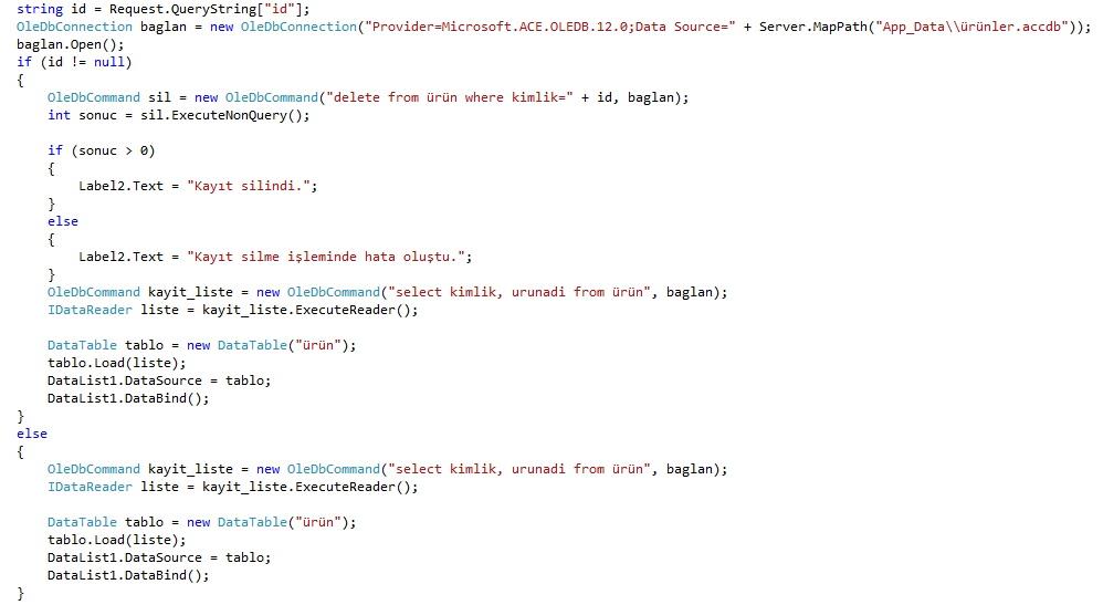 asp.net kayıt silme kodları